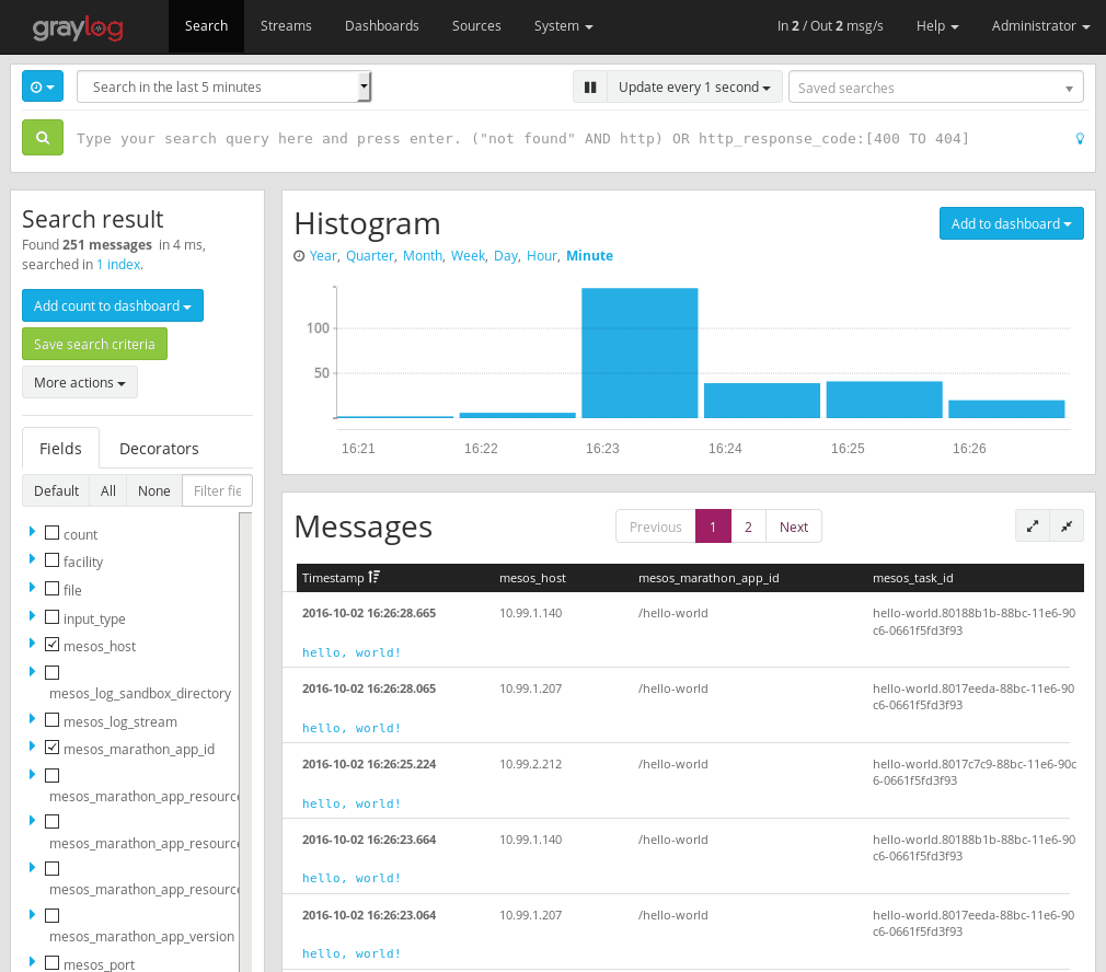 Logs from Marathon in Graylog